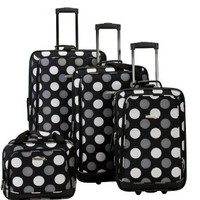 Rockland Luggage Dot 4 Piece Luggage Set, Black Dot, One Size