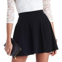High-Waisted Solid Cotton Skater Skirt by Charlotte Russe - Black