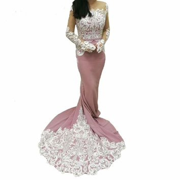 Lace Mermaid Evening Dresses long sleeves Blush Pink  Evening Gowns Patterns Formal dress Long Prom Dress