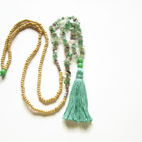 Long beaded tassel necklace, Long mint necklace, Necklace jewelry