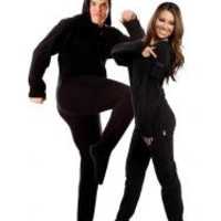 Black Adult Footed Onesuit Pajamas