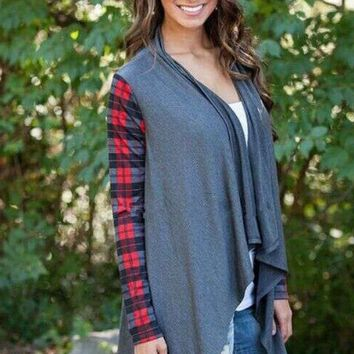 Grey Plaid Sleeve Cardigan