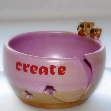 yarn bowl ceramic in orchid and owl by claylicious on Etsy