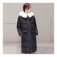 Winter Woman Fur Collar Slim Woman Down Coat Thick   black