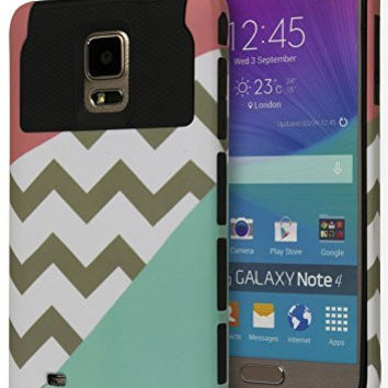 Samsung Galaxy Note 4 Hybrid  Black Cover  PinkChevronMint Case