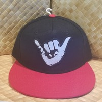 """50th State """"Black and Red Shaka"""" Snapback Hat"""