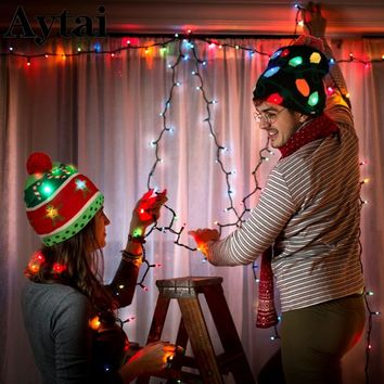 Aytai LED Christmas Tree Hat Light Up Knitted Hat for Children Adult Ugly Christmas Sweater Christmas Beanie New Year 2019