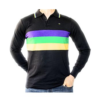 Mardi Gras Black Long Sleeve Polo Shirt (Woven Stripes)