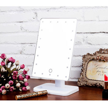 20 LEDs Lighted LED Makeup Mirror Luminous 180 Rotating Mirror Adjustable Vanity Tabletop Lamp Touch Screen Mirror Portable