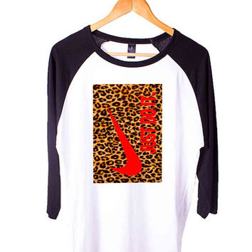 Nike Just Do It Leopard Short Sleeve Raglan - White Red - White Blue - White Black XS, S, M, L, XL, AND 2XL*AD*