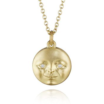 Anthony Lent Gold Reversible Moonface and Sunface Pendant Necklace