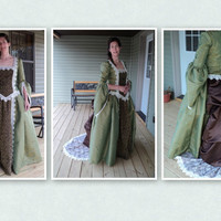 Colonial ball gown Revolutionary War evening wear Marie Antoinette Wuthering heights dress with back bustle and train--MADE TO ORDER