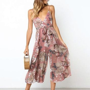 Meredith Floral Print Pink Jumpsuit