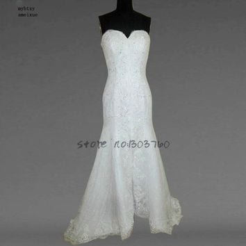 Sleeveless Lace Sweetheart Court Train Casamento Floor-length Up Mermaid Wedding Dresses China Bridal Gowns Tea Length Rose Moda