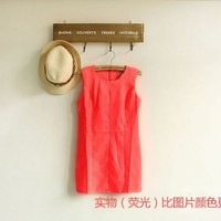 Playful Fluorescence Color Bust Little Hole Sleeveless Shift Dress 3 Colors