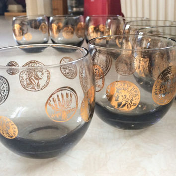 Vintage 1960's MCM Mid Century Mad Men Style Smokey Glass Roman Gold Coin Design Roly Poly Glasses