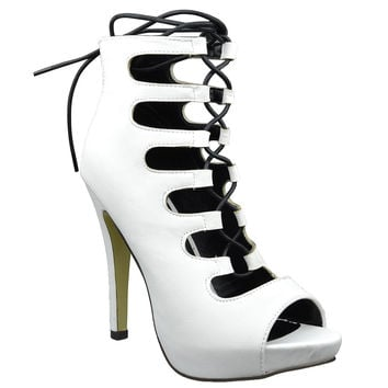 Womens Ankle Boots Contrast Lace Up Sexy High Heels White