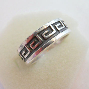 Vintage Mexican Sterling Silver Greek Key Ring Size 7.25