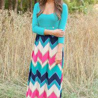 Scoop Neck Half Sleeves Chevron Print Maxi Dress