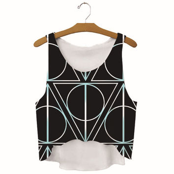 Summer Womens Geometry Printed Slim Show Hilum Tank Top Sports Vest Gift - 30