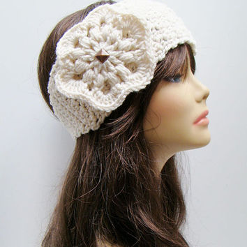 FREE SHIPPING - Crochet Ear Warmer Headband with Flower and Button - Off-White Cream White with Copper Stud and Tan Button