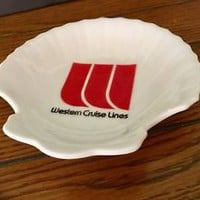 Vintage Western Cruise Lines Ashtray, Scallop Soap Dish, Shell Trinket Dish