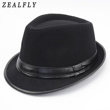 Men Autumn And Winter Wool Fedora Women Vintage Jazz Hat Fashion Fashion Faux Leather Felt Hat Black Church Caps Chapeu 2018