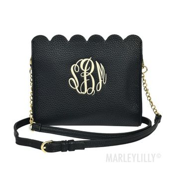 Monogrammed Scalloped Crossbody Bag | Marleylilly