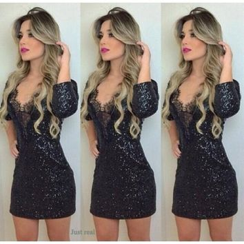 Sequins black dress women lace patchwork mini dress