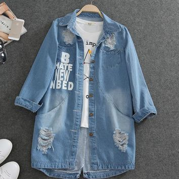 6XL Women Spring Turn Down Collar Slim Denim coat Hole Long Sleeve Ladies Washed Denim Jacket Women Coat Large size W505