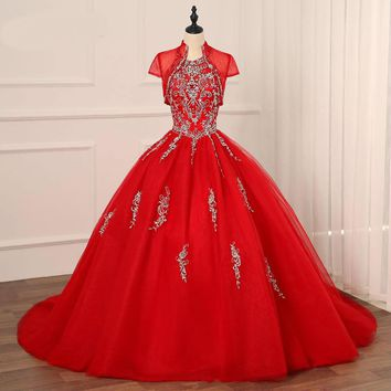 Dress with Jacket Halter Tulle Embroidery Sweet 16 Dresses Back Lace-up
