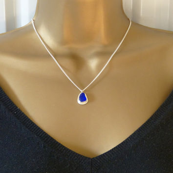 Tiny Cobalt Blue Sea Glass Pendant Necklace MARIAN