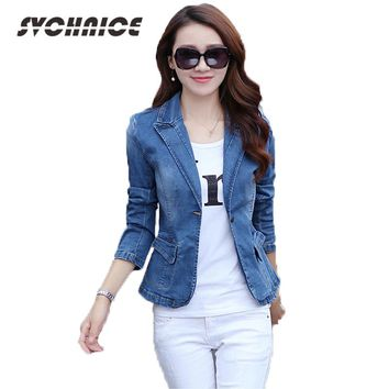 2018 Office Lady Jackets Denim Outwear Spring Jeans Coat Slim Jeans Jackets Women Fashion Spring Female Jackets Plus Size S-3XL