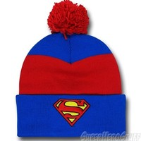 Superman Symbol Blue & Red Pom Pom Beanie