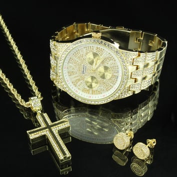 Hip Hop Iced Out Gold Tone Watch Cross Rope Chain Stud Earrings Combo Set Mens