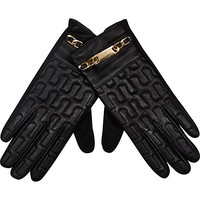River Island Womens Black chain trim leather gloves
