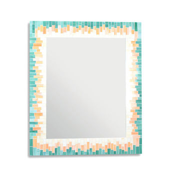 Gradient Decorative Mosaic Wall Mirror in Beige, Orange, and Sea Green Stained Glass - 4 Sizes Available