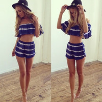 Summer Off Shoulder Strapless Sexy Two Pieces Set