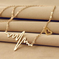Women's Gold Tone Heart Beat Waves Choker Style Charm Necklace with Heart Accent