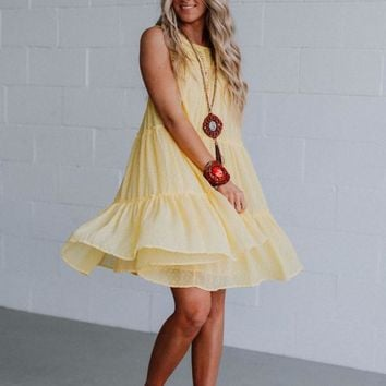 Matty Crochet Babydoll Dress - Yellow