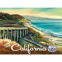 See California Metal Sign: Surfing and Tropical Decor Wall Accent