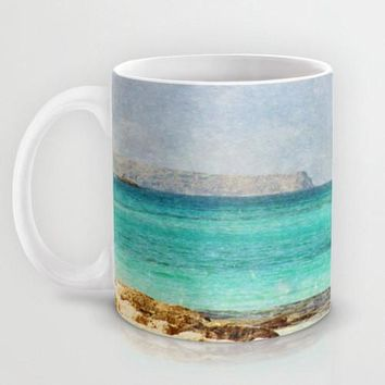 Art Coffee Cup Mug At Sea 4 Photography Java Lovers decor photo photograph Mediterranean texture ocean aqua sky blue beach nautical decor
