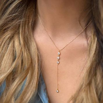 Gold Crystal Lariat Drop Necklace