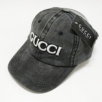 GUCCI Summer Women Men Cool Embroidery Sports Sun Hat Baseball Cap Hat Black