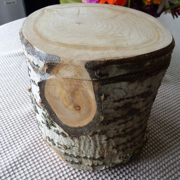 Handcrafted Large 6 Piece Birch Bark On Log Puzzle Box with secret inner compartment