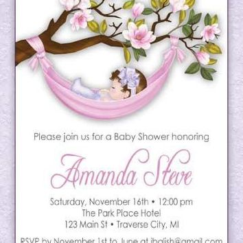 Hammock Baby Shower Invitations - Girl