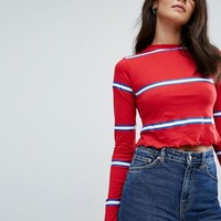 Daisy Street Long Sleeve Crop T-Shirt With Fine Stripe And Crinkle Hem at asos.com