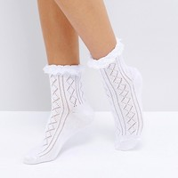 ASOS Crochet Lace Frill Ankle Socks at asos.com