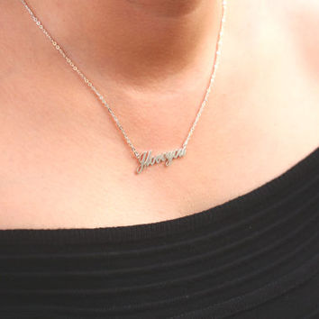Handcrafted Name Necklace - Unique Gift - Vintage Handmade - Letters Necklace - 18K Gold Plated