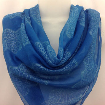 Mothers Day Gift Ocean Blue Silver shawl, Gift for Sister in Law, Holiday Gift, Best friend, Lace design scarf, Fashion Neckerchief  40 x 40